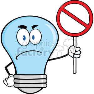 cartoon funny lightbulb idea character no nope