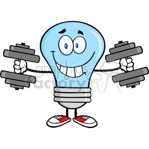 6020 Royalty Free Clip Art Smiling Blue Light Bulb Cartoon Character Training With Dumbbells clipart. Royalty-free image # 389153