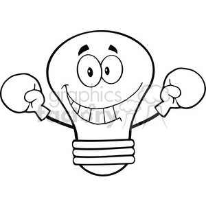 6129 Royalty Free Clip Art Smiling Light Bulb Cartoon Character Wearing Boxing Gloves clipart. Royalty-free image # 389173