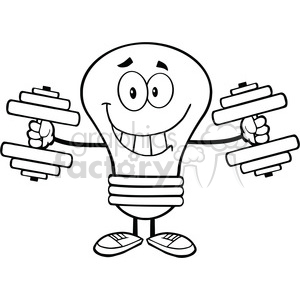 6018 Royalty Free Clip Art Smiling Light Bulb Cartoon Character Training With Dumbbells clipart. Commercial use image # 389203