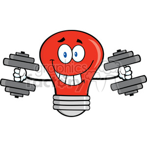 6110 Royalty Free Clip Art Smiling Red Light Bulb Cartoon Character Training With Dumbbells clipart. Commercial use image # 389213