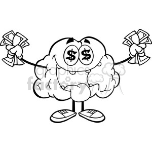 5985 Royalty Free Clip Art Money Loving Brain Cartoon Character clipart. Royalty-free image # 389223