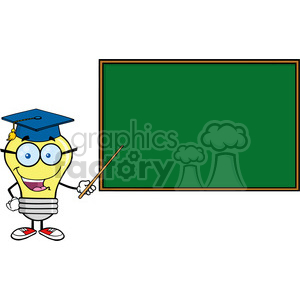 6084 Royalty Free Clip Art Smiling Light Bulb Teacher Character With A Pointer In Front Of Chalkboard clipart. Commercial use image # 389233
