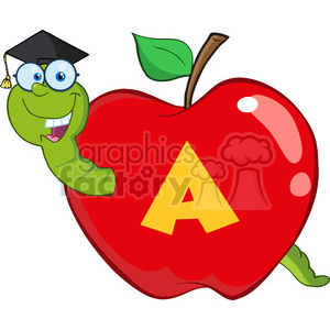 6244 Royalty Free Clip Art Happy Worm In Red Apple With Graduate Cap,Glasses And Leter A clipart. Commercial use image # 389243
