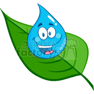 6206 Royalty Free Clip Art Smiling Water Drop On A Leaf clipart. Royalty-free image # 389263