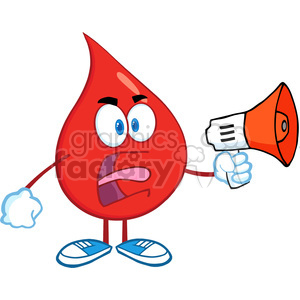 6189 Royalty Free Clip Art Angry Red Blood Drop Character Screaming Into Megaphone clipart. Royalty-free image # 389283