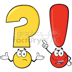 6289 Royalty Free Clip Art Question Mark And Exclamation Mark Cartoon Characters clipart. Royalty-free image # 389293