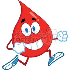 6175 Royalty Free Clip Art Red Blood Drop Cartoon Character Running clipart. Royalty-free image # 389303