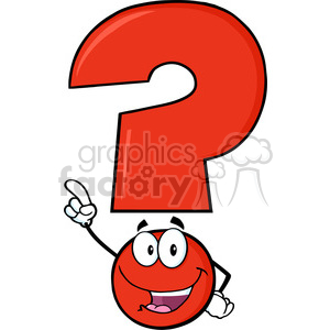 6259 Royalty Free Clip Art Happy Red Question Mark Cartoon Character Pointing With Finger clipart. Commercial use image # 389313