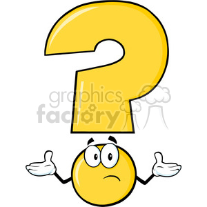 6270 royalty free clip art yellow question mark cartoon character with a confused expression
