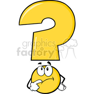 6266 Royalty Free Clip Art Yellow Question Mark Cartoon Character Thinking clipart. Commercial use image # 389353