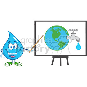 6223 Royalty Free Clip Art Water Drop Character With Pointer Presenting On A Board Earth Globe clipart. Royalty-free image # 389363