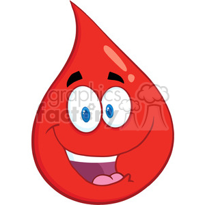 6169 Royalty Free Clip Art Smiling Red Blood Drop Cartoon Character clipart. Royalty-free image # 389373