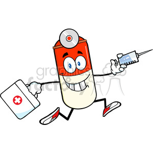 6298 Royalty Free Clip Art Pill Capsule Cartoon Mascot Character Running With A Syringe And Medicine Bag clipart. Royalty-free image # 389393