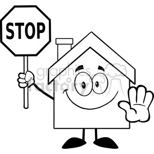 6471 Royalty Free Clip Art Black and White House Cartoon Character Holding A Stop Sign clipart. Commercial use image # 389413