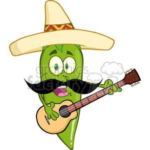 6800 Royalty Free Clip Art Green Chili Pepper Cartoon Character With Mexican Hat And Mustache Playing A Guitar clipart. Commercial use image # 389423