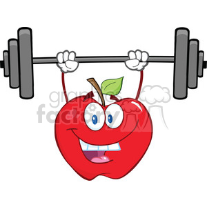 6526 Royalty Free Clip Art Smiling Apple Cartoon Character Lifting Weights