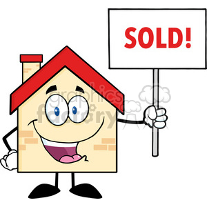 6481 Royalty Free Clip Art House Cartoon Character Holding Up A Blank Sign With Text clipart. Commercial use image # 389443