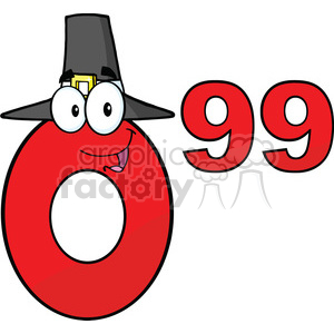 6706 Royalty Free Clip Art Price Tag Red Number 0-99 With Pilgrim Hat Cartoon Mascot Character clipart. Royalty-free image # 389468