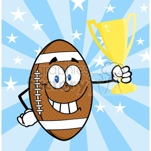 6585 royalty free clip art american football ball cartoon mascot character holding golden trophy cup