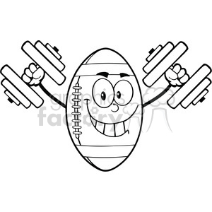 6574 Royalty Free Clip Art Black and White Smiling American Football Ball Cartoon Mascot Character Training With Dumbbells clipart. Royalty-free image # 389488