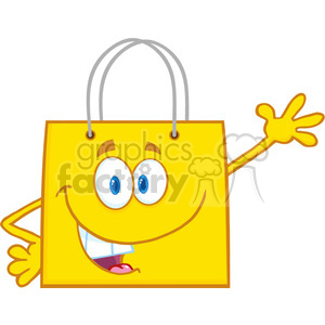 6726 Royalty Free Clip Art Smiling Yellow Shopping Bag Cartoon Mascot Character Waving For Greeting