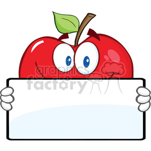 6538 Royalty Free Clip Art Smiling Red Apple Character Holding A Banner clipart. Royalty-free image # 389518