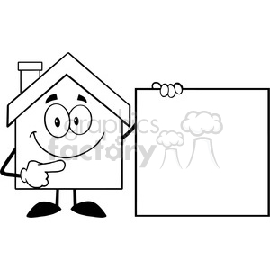 6463 Royalty Free Clip Art Black and White House Cartoon Mascot Character Showing A Blank Sign clipart. Royalty-free image # 389528