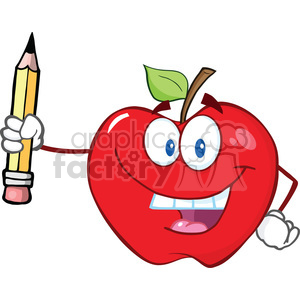 6531 Royalty Free Clip Art Happy Red Apple Holding Up A Pencil clipart. Commercial use image # 389538
