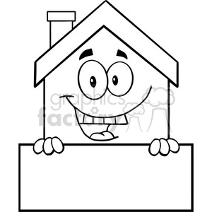 6459 Royalty Free Clip Art Black and White House Cartoon Mascot Character Over Blank Sign clipart. Commercial use image # 389558