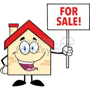 6482 Royalty Free Clip Art House Cartoon Character Holding Up A Blank Sign With Text clipart. Commercial use image # 389568