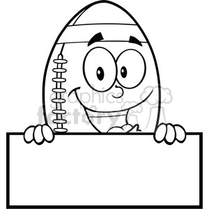 6579 Royalty Free Clip Art Black and White American Football Ball Cartoon Mascot Character Over Blank Sign clipart. Royalty-free image # 389578
