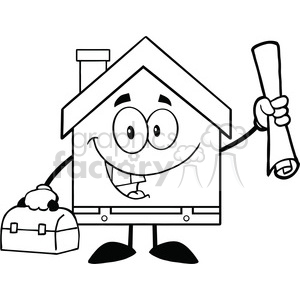 6457 Royalty Free Clip Art Black and White House Worker With Blueprint And Tool Box clipart. Commercial use image # 389588