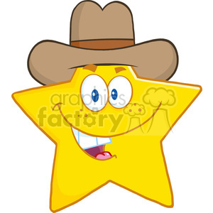 6717 Royalty Free Clip Art Smiling Star Cartoon Mascot Character With Cowboy Hat clipart. Commercial use image # 389598
