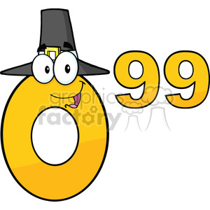 Royalty Free Clip Art Price Tag Number 0.99 With Pilgrim Hat Cartoon Mascot Character clipart. Commercial use image # 389618