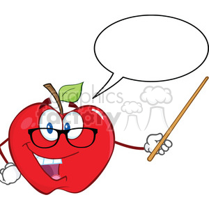 6510 Royalty Free Clip Art Smiling Apple Teacher Character With A Pointer And Speech Bubble clipart. Royalty-free image # 389630