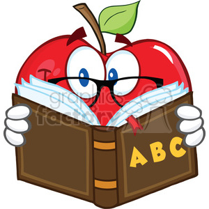 6523 Royalty Free Clip Art Smiling Apple Teacher Character Reading A Book clipart. Royalty-free image # 389650