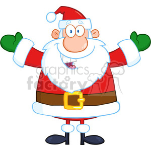 6657 Royalty Free Clip Art Happy Santa Claus With Open Arms For Hugging clipart. Commercial use image # 389680
