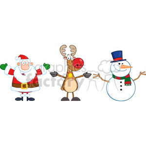 6680 Royalty Free Clip Art Santa Claus,Rudolph Reindeer And Snowman clipart. Commercial use image # 389690