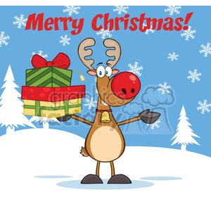 6685 Royalty Free Clip Art Merry Christmas Greeting With Rudolph Reindeer Holding Up A Stack Of Gifts clipart. Commercial use image # 389700
