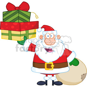 6670 Royalty Free Clip Art Smiling Santa Claus Holding Up A Stack Of Gifts