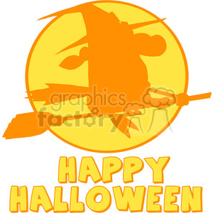 6634 Royalty Free Clip Art Happy Halloween Greeting With Witch Ride A Broom Silhouette clipart. Royalty-free image # 389720