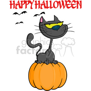 6622 Royalty Free Clip Art Halloween Cat On Pumpkin Cartoon Illustration clipart. Royalty-free image # 389730