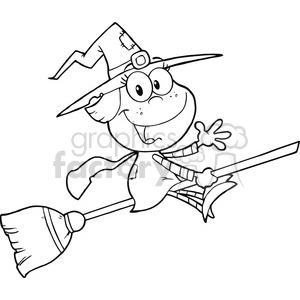 6629 Royalty Free Clip Art Back And White Halloween Little Witch Cartoon Character Waving For Greeting clipart. Commercial use image # 389740