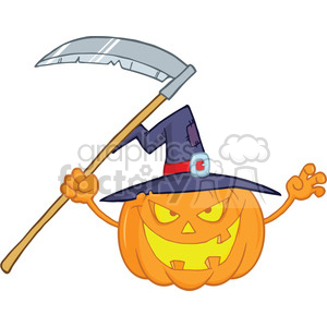 6636 Royalty Free Clip Art Scaring Halloween Pumpkin With A Witch Hat And Scythe Cartoon Illustration clipart. Royalty-free image # 389750