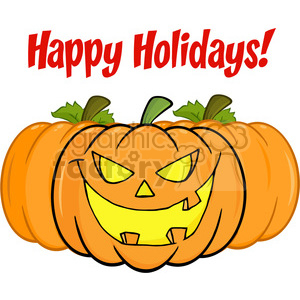 6616 Royalty Free Clip Art Happy Holidays Greeting With Smiling Pumpkin clipart. Royalty-free image # 389760