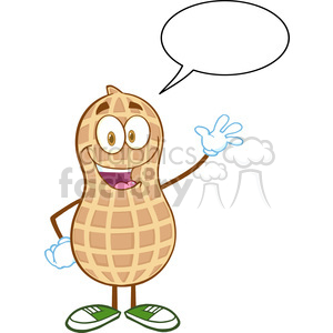 6598 Royalty Free Clip Art Happy Peanut Cartoon Mascot Character Waving For Greeting With Speech Bubble clipart. Commercial use image # 389770