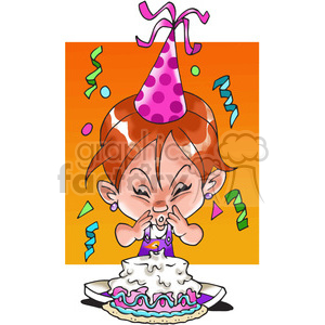 girl birthday party cartoon clipart. Commercial use image # 389828