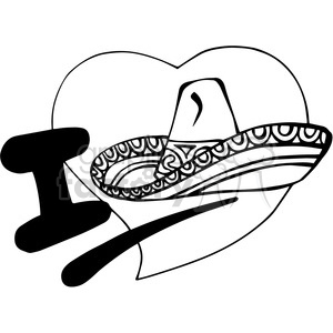 I love Mexico black white clipart. Royalty-free image # 389868