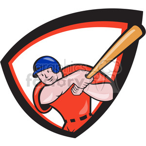 baseball batter batting front 2 SHIELD clipart. Royalty-free image # 389888